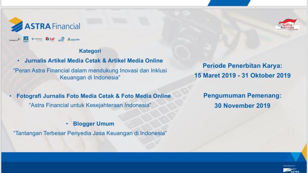 Kompetisi Jurnalis dan Blogger Astra Financial